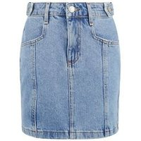 Girls Pale Blue Denim Mom Skirt New Look