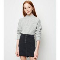 Girls Black Ring Zip Denim Tube Skirt New Look