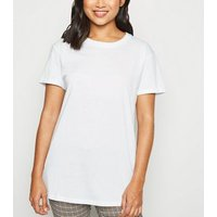 Petite White Organic Cotton Roll Sleeve T-Shirt New Look