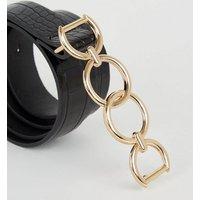 Black Faux Croc Double Ring Buckle Belt New Look