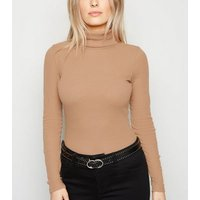 Petite Camel Ribbed Roll Neck Long Sleeve Top New Look