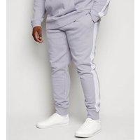Plus Size Grey Side Stripe Joggers New Look