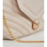 Off White Quilted Chain Shoulder Bag New Look Vegan