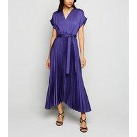 Blue Satin Pleated Midi Dress New Look