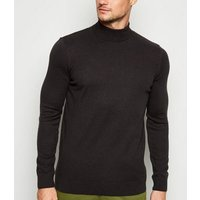Black Fine Knit Roll Neck Top New Look