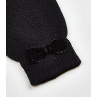 2 Pack Black Bow Trim Gloves New Look