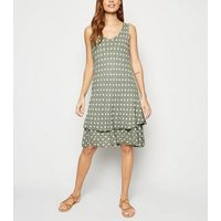 Blue Vanilla Khaki Polka Dot Sleeveless Dress New Look