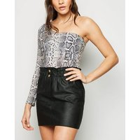 Cameo Rose Black Leather-Look High Waist Skirt New Look