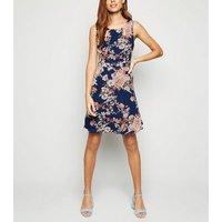 Blue Vanilla Blue Floral Skater Dress New Look