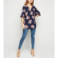 Blue-Vanilla-Blue-Floral-Oversized-Top-New-Look