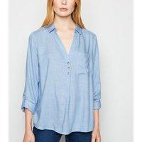 Blue Long Sleeve Overhead Shirt New Look