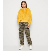 Girls Green Camo Denim Utility Trousers New Look