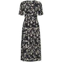 Black Daisy Print Split Midi Dress New Look