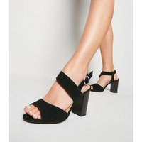Wide Fit Black Suede Block Heels New Look