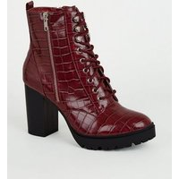 Dark Red Faux Croc Chunky Lace Up Boots New Look Vegan