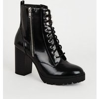Black Patent Lace Up Chunky Heeled Boots New Look