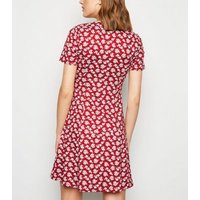Red Floral Soft Touch Button Up Tea Dress New Look