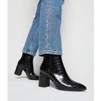Black Faux Croc Ankle Boots New Look Vegan