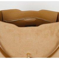 Camel Leather-Look Side Stud Tote Bag New Look Vegan