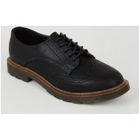 Girls Black Leather-Look Lace Up Brogues New Look Vegan