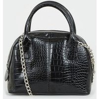 Black Faux Croc Chain Bowler Bag New Look