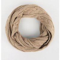 Camel Cable Knit Snood New Look