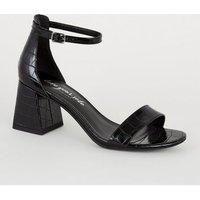 Black Faux Croc Flared Heel Sandals New Look Vegan