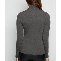 Dark Grey Roll Neck Long Sleeve Top New Look