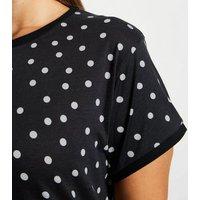 Curves Black Spot Ringer T-Shirt New Look