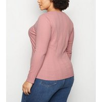 Curves Mid Pink Ribbed Long Sleeve Top New Look