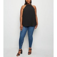 Curves Black Pleated Halterneck Top New Look