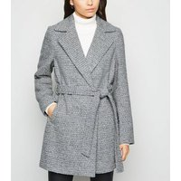 Light Grey Flecked Faux Fur Collar Belted Coat New Look
