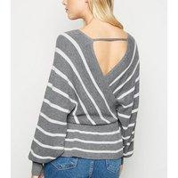 Light Grey Stripe Peplum Jumper New Look