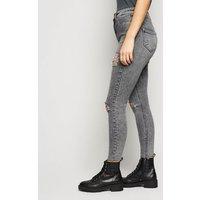 Petite Dark Grey Ripped Super Skinny Jeans New Look