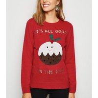 Red Good In The Pud Christmas Jumper New Look