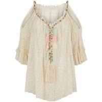 Cameo Rose Stone Tassel Crochet Top New Look