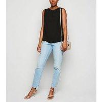 Black Gathered Neck Sleeveless Top New Look