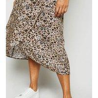 Petite Brown Leopard Print Wrap Midi Skirt New Look
