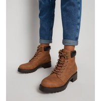 Girls Tan Leather-Look Lace Up Boots New Look Vegan
