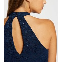 Navy Sequin Lace Fishtail Midi Dress New Look