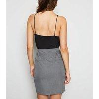 Light Grey Houndstooth High Waist Mini Skirt New Look