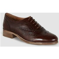 Dark Brown Leather Lace Up Brogues New Look