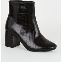 Wide Fit Black Faux Croc Flared Heel Boots New Look