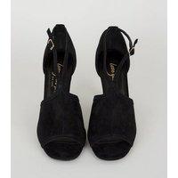 Black Suedette Peep Toe Block Heels New Look Vegan