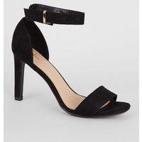 Black Suedette Slim Heel Sandals New Look Vegan