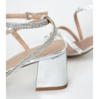 Silver Diamante Flared Heel Strappy Sandals New Look