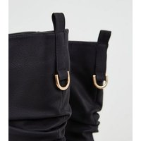Black Leather-Look Slouch Calf Boots New Look Vegan
