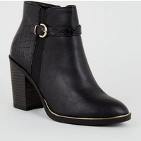 Black Faux Croc Panel Heeled Ankle Boots New Look Vegan