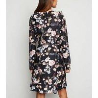 Mela Black Floral Soft Touch Wrap Dress New Look