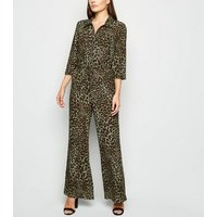 Blue Vanilla Khaki Leopard Print Jumpsuit New Look
